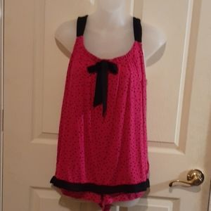 Secret Treasures pink blk dot 2 pc sleep set M